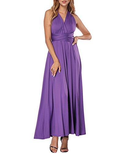 SELUXU Kleider Damen V-Ausschnitt Rückenfrei Neckholder Abendkleider Elegant Cocktailkleid...