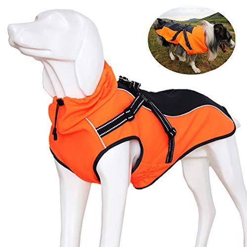 JunBo Hundemantel Hundejacke Winter Warme mit Verstellbaren Riemen und Reflektierenden Streifen für Mittlere und Große Hunde (M, Orange)