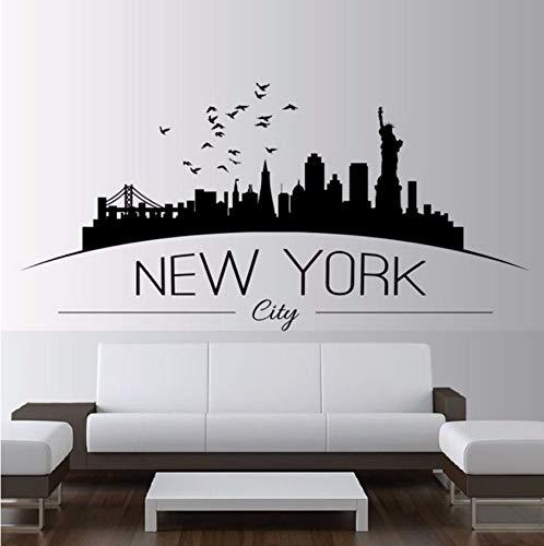 Lvabc Wohnkultur Große Nyc New York City Skyline Wandtattoos Skyline Silhouette Wandaufkleber Schlafzimmer Dekoration 57X28 Cm
