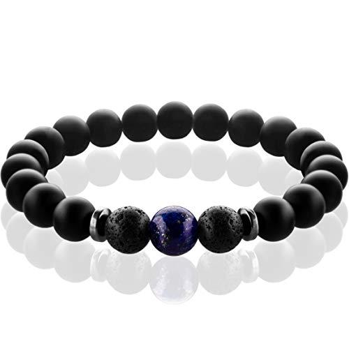 FABACH Spirituals Chakra Perlenarmband mit 8mm Lapis Lazuli-Perle, Lavastein und Onyx-Naturstein...