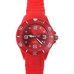 RED I-STYLE QUARTZ RUBBER SILICONE SPORTS WATCH UNISEX WITHOUT DATE SMALL VERSION 38MM
