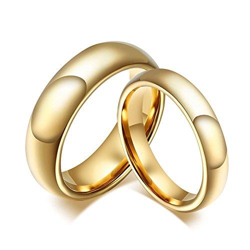 Blisfille Edelstahl Ring Paar Ringe Herren Gold Herren Damen Schlicht Gewölbt Hoch Poliert Glänzend Gr. 60(19.1) & 70(22.3) Kostenlos Gravur