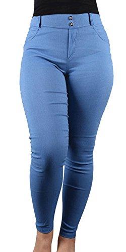 BOZEVON Donna Skinny Elastico Pantaloni Matita Casuali Leggings Moda Eleganti Pantaloni stretti sottili Blu