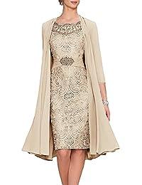 APXPF Femme Thé Longueur Mère de la Mariée Robes Deux Pièces avec Veste ec0fbc141f11