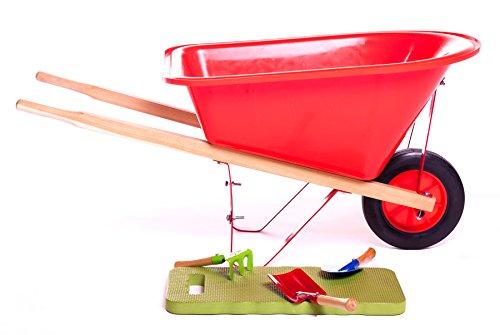 56 Liter Schubkarre aus Kunststoff rot mit Zubehör