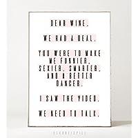Kunstdruck / Poster DEAR WINE -ungerahmt- Typografie, Spruch, Leben, witzig