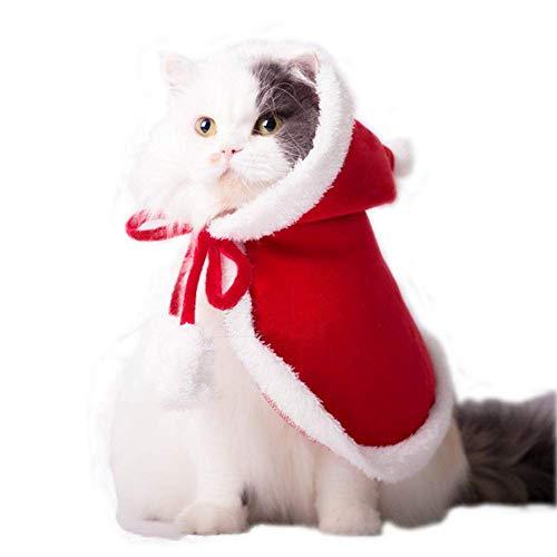 ANIAC Haustierkostüm Poncho Cape mit Mütze Santa Claus Umhang für Katzen und Hunde, Rot, Small, rot