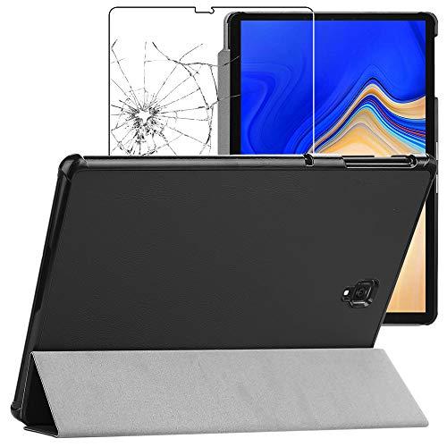ebestStar - compatibel Samsung Galaxy Tab S4 10.5 Hülle SM-T830, SM-T835 Schlank SmartCover [Ultra Dünn] Schutzhülle Etui, Ständer Case Cover, Schwarz + Panzerglas [Tab: 249.3 x 164.3 x 7.1mm 10.5'']
