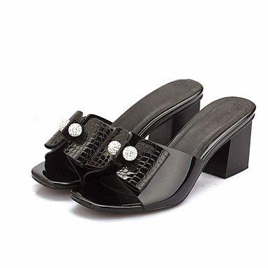 zhENfu donna pantofole & amp; flip-flops sandali Slingback PU estate autunno casual abito Bowknot Chunky Heel Bianco Nero 3A-3 3/4in Black
