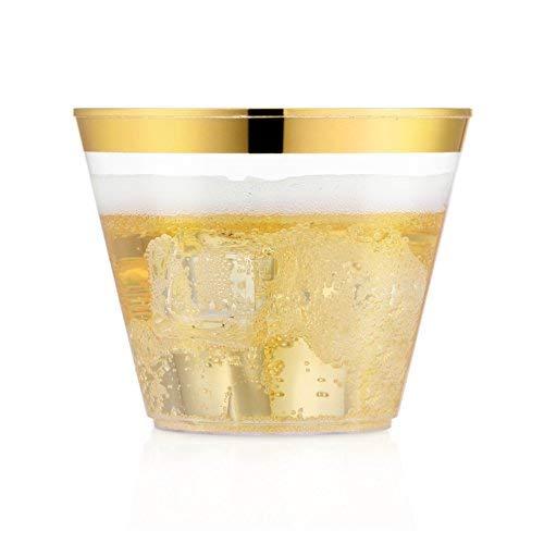 nststoff Becher ~ 9oz klar Kunststoff Becher Tumbler ~ Gold mit Rand Fancy Hochzeit Tassen ~ Einweg Party Becher ~ Elegant Gold Rand ()