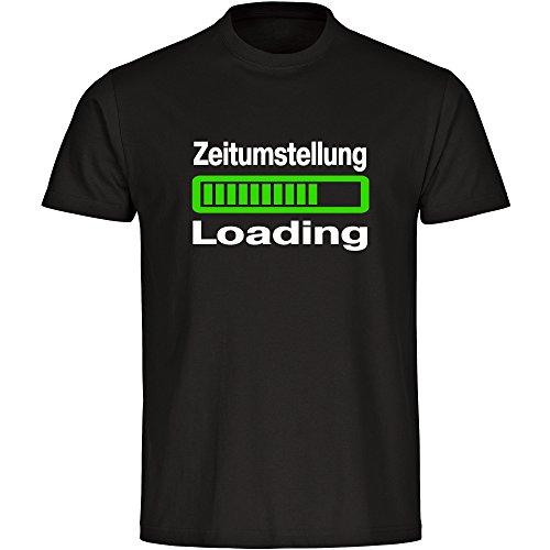 Multifanshop T-Shirt Loading Zeitumstellung Schwarz Herren Gr. S bis 5XL, Größe:L
