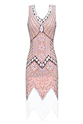 Metme Women's 1920s V Neck Beaded Fringed Gatsby Theme Flapper Dress For Prom (S, Light Pink)
