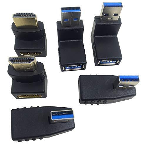 AFUNTA - Adaptador USB 3.0 de 4 Unidades y 2 adaptadores HDMI Macho a Hembra, Conector USB de extensión Adaptador, Conector de 90 y 270 Grados Conector HDMI