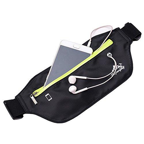 Lonshell Wasserdichte Bumbag Gürteltasche Nylon Schlinge Brusttasche Sport Running Hip Bum Tasche Phone Pack Zipper Schultertasche Funky Travel Storage Gürteltasche (Schwarz) -