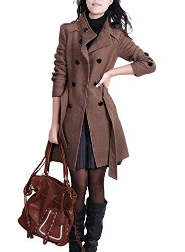 YOUJIA Damen Stehkragen Trenchcoat mit Gürtel Wollmantel Länge Zweireihige Winterjacken Parka (Kaffee, CN 3XL) (Park-kaffee)