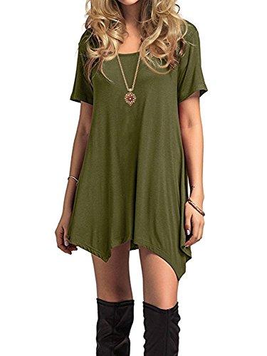 Azue Damen Sommerkleider Kurzarm Kleider Casual T-shirt kleid Loose Fit für Alltag Grün K EU 46 (Herstellergröße XL)