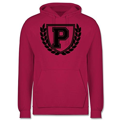 Anfangsbuchstaben - P Collegestyle - Männer Premium Kapuzenpullover / Hoodie Fuchsia