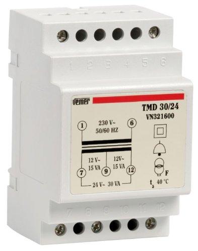 Trasformatore modulare di sicurezza per servizio discontinuo TMD 30/24 Doppio