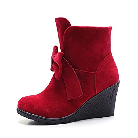 Mesdames Scrub Mid Heel Bow Tie Bottes Femme Chaussures Suede Faux Funky Rubber,Red-37EU