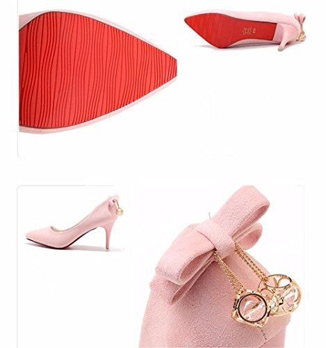 FLYRCX Europea di personalità elegante punta tacco fine tacco alto shallowly shallow bow tie lady scarpe di partito B