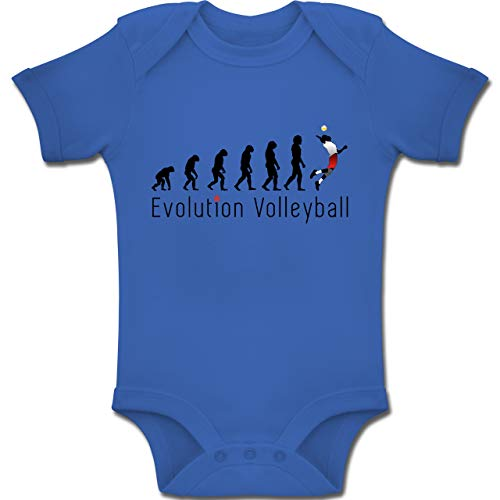 Shirtracer Evolution Baby - Volleyball Evolution - 6-12 Monate - Royalblau - BZ10 - Baby Body Kurzarm Jungen Mädchen