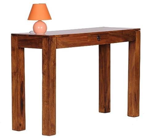 WOHNLING Konsolentisch Massivholz Sheesham Konsole mit 1 Schublade Schreibtisch 120 x 40 cm Landhaus-Stil Sideboard Modern Massiv dunkel-braun Echt-holz Natur Anrichte PC-Tisch Sekretör Tisch