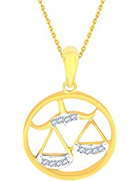 Silvernshine New D/VVS1 Diamond Libra Zodiac Pendant Necklace In 14K Yellow Gold Fn