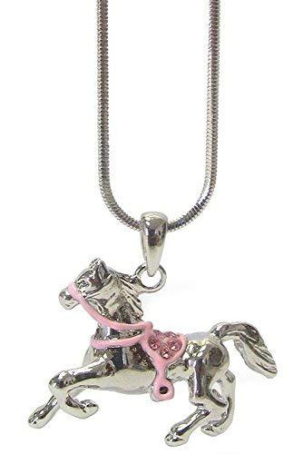 Glamour Girl Gifts Collection Halskette mit Anhänger Pferde-Pferd mit rosa Kristallsattel silberfarben (Stiefel Cowgirl Mädchen Rosa)