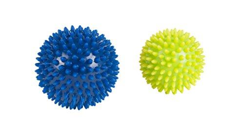 HUDORA 2 Massagebälle / Noppenbälle, 75mm und 90mm in Aufbewahrungs-Tube von
