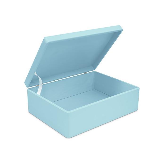 LAUBLUST Große Holzkiste mit Deckel - 40x30x14cm, Blau, FSC® | Allzweck-Kiste aus Holz - Aufbewahrungskiste | Spielzeug…
