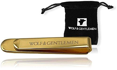 Wolf & Gentlemen Krawattennadel Krawattenklemme Modell Gold 18 Karat vergoldete Krawattennadeln + edlem Vellourbeutel + Spende an Hilfsorganisation