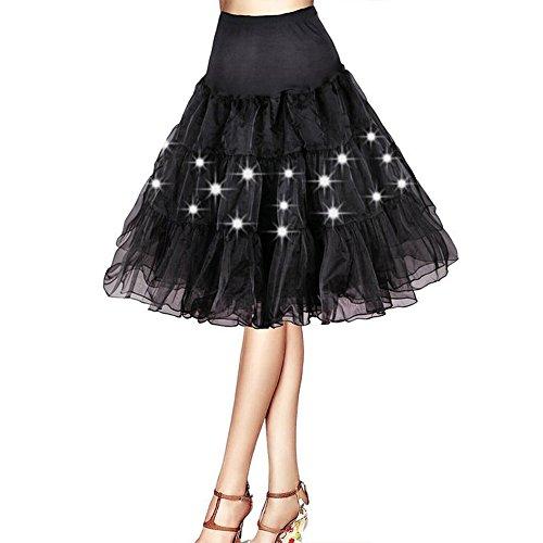 DULEE Damen Weihnachten Halloween Party eine Linie LED Partei Kurze Ballettröckchen Rock Vintage Petticoat Rock Party Tanzkleid,Schwarz 2XL