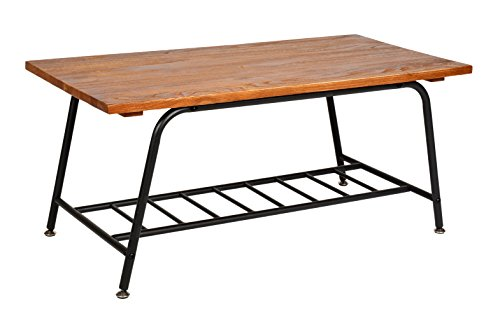 ts-ideen Table basse Design Table d'appoint Style japonais en bois Métal 90 x 44,5 cm