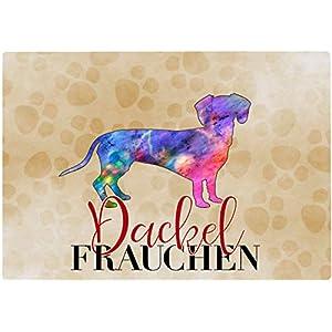 Cadouri Frühstücksbrettchen DACKEL FRAUCHEN Glasschneidebrett Schneidebrettchen – 28,5 x 20 x 0,4 cm
