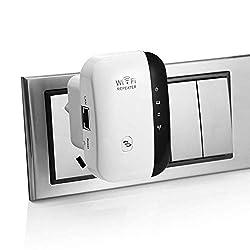 WLAN Repeater Wireless Netz Signal WLAN Verstärker 300Mbit/s (LAN Port, WPS Taste, EU Stecker) WiFi Range Extender Mini WLAN Verstaerker Receiver Kompatibel mit Allen WLAN Geräte -Weiß