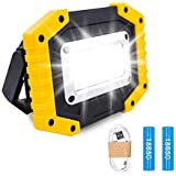 Lambony LED ładowalne światła robocze, reflektor 30 W bateria światło bezpieczeństwa z 3 trybami na zewnątrz COB reflektory k