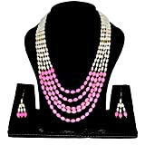 NKs Special Necklace/Earrings Sets For Women/Girls With Real Beads In Organic Form ( Coloured And White Combination)