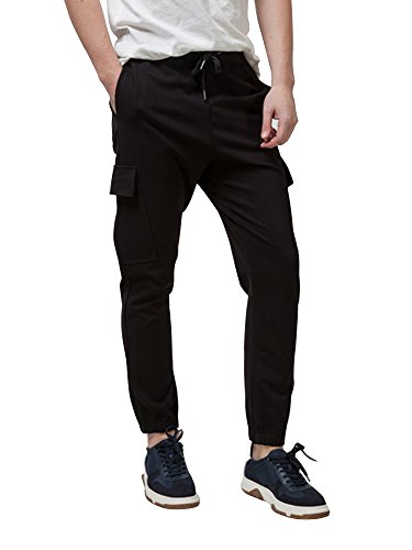 Pantalon de Sport jogging corde à serrage style sarouel Noir