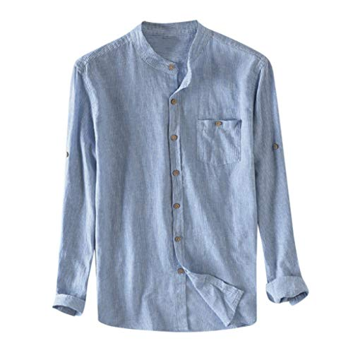 BHYDRY Herren Baggy Cotton Breathable gestreifte Knopf Tasche Plus Size Langarmshirts