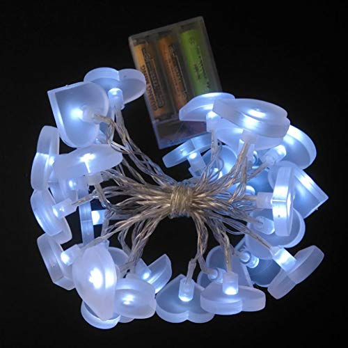 Lichterkette,FeiliandaJJ 3M 30pc Scrub Love Herzförmig LED Lichterkette Innen/Außen Deko Hochzeit Party Halloween Weihnachten Haus Deko String Lights 3x AA battery (Weiß)
