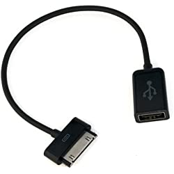 BIRUGEAR Cable Adaptador USB OTG (On-The-Go) para Tablet Samsung Galaxy Tab 2 WiFi 7.0, 7.7, 8.9, 10.1, P1000, P3100, P3110, P5100, P5110, P6200, P6800, P6810, P7300, P7310, P7500, P7510