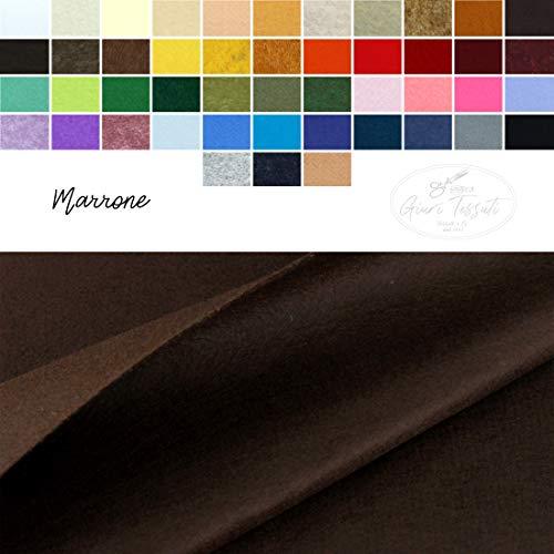 Generico pannolenci tinta unita e colori mélange al mezzo metro - panno in feltro colorato per creazioni in tessuto - fai da te - altezza 190 cm - 47 colori (marrone)