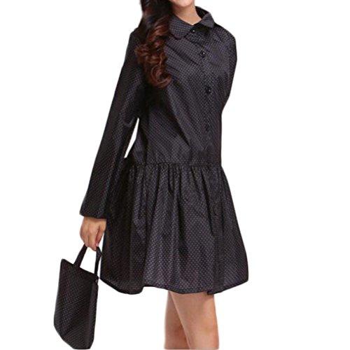 Nanxson(TM) Imperméable Branché À Pois Avec Capuche Raincoat Cape Pour Femmes WTW0069 Noir