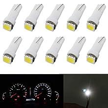 10Pcs T5 Led Dashboard Bulb,74 37 286 18 27 LED Car Light Bulbs 5050 1SMD 12V 20Lums White for Car Auto Dashboard Instrument Reading Gauge Panel Light