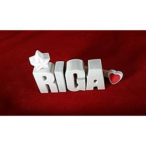 Städte Namen RIGA Reise Hotel mit Stern und Herzklammer. Geschenk für eine Kurzreise, Trip oder Urlaub!