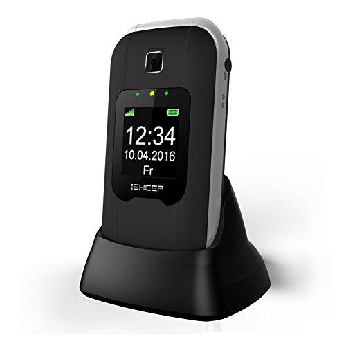 Foto de Teléfono móvil con tapa para personas mayores, teclas grandes, Isheep SF220 GSM, pantalla de 2,4 pulgadas, tecla de emergencia, cámara, negro