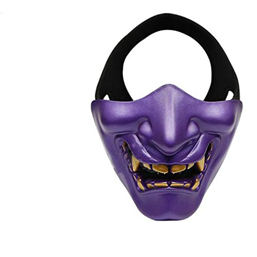 Halloween Kostüm Cosplay BB Gun Evil Dämon Monster Kabuki Samura-Halbe Gesichtsmaske Cosplay, Kostüm Party und Film Prop,Lila