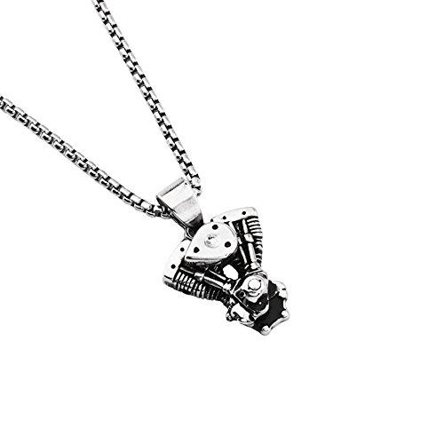 McSays Halskette mit Motor-Anhänger, Hip-Hop-Schmuck, versilberter Edelstahl, 70cm lange Venezianerkette