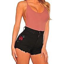Minetom Jeanshose Damen Shorts Denim High Waist Vintage Rose Hot Pants  Basic Kurz Hose 0dba0359d9