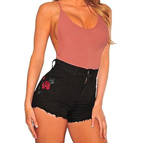 Minetom Femmes Été Vintage Taille Haute Broderie Imprimé Denim Jeans Shorts Sexy Chaude Pantalons Courtes Décontracté Collant Noir FR 34/Tour de taille 62 cm